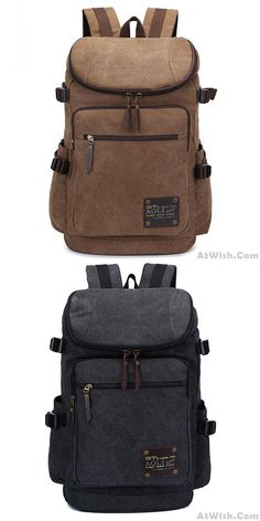 Men/'s Leather Folding Backpack Laptop Bag Large Hiking Travel Camping Carry On