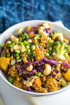 Thai pineapple fried rice recipe. Made vegan and packed with vegetables for an easy, healthy, gluten-free weeknight dinner.