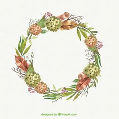 Floral wreath with leaves and branches Free Vector