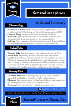 The Down N' Dirty on Benzodiazepines: A 60-Second Summary of the highest priority info @iStudentNurse #NurseHacks #NursingPharm #NCLEX