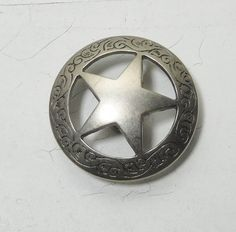 Star Concho Screw Back Domed Engraved Scroll Antique Silver Finish Look Vintage Texas Lone Star Badge 1 1/2 Inches Round by LandofBridget on Etsy