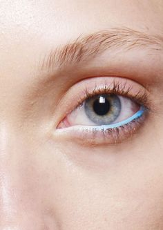 Ombré isn't just for hair, it's for eyes too. One of the coolest beauty looks of the season was at Holly Fulton, where makeup artist Andrew Gallimore created an ombré eye, using a cyan kohl liner that faded into white under the models' eyes.