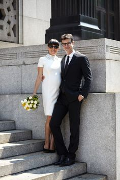 15 City Hall Brides Who Nailed It #refinery29 http://www.refinery29.com/city-hall-wedding-brides-photos#slide-7 Catalina and Jonathan looking sleek after their City Hall ceremony in New York....