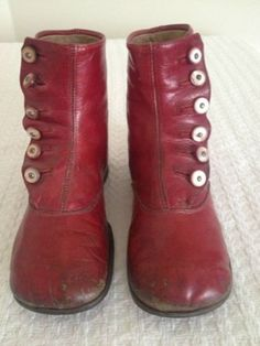 Antique Baby Shoes ~ Child's Red Button-up Boots