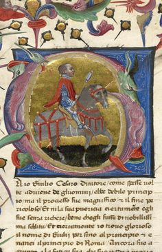 Julius Caesar, wearing armor, holding spear, seated astride horse. In decorated initial G composed of fantastic animals | Libro degli uomini famosi | ca. 1405 | The Morgan Library & Museum
