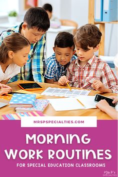 Find tips and ideas on how to improve morning work tasks to set your students up for a positive school day. These tips are especially helpful for special education or inclusion settings, kindergarten, first grade, autism classes, self-contained programs and other special needs classroom. Click to read the tips on setting up morning work centers that promote social & fine motor skills. Learning Time, Hands On Learning, Morning Meeting Activities, Work Task, Special Education Classroom, Morning Work, Special Needs, Fine Motor Skills, School Days