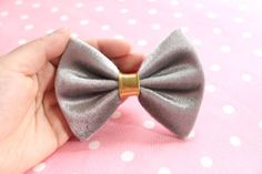 silver velvet fabric hair bow with gold center