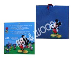 """Προσκλητήριο βάπτισης για αγόρι με θέμα  """"Μίκυ Μάους"""". Αποτελείται απο δύο μέρη. Ματ χαρτί με τον αγαπημένο μας Μίκυ Μάους  και μπλε φάκελο με κοπτικό στο σχήμα του ήρωα μας. Mickey Mouse, Baby Mouse"""