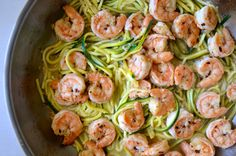 Skinny Shrimp Scampi with Zucchini Noodles Recipe A great dish. I found the zucchini noodles (mixed with squash noodles) already prepared at the grocery so it was even quicker! Zucchini Noodle Recipes, Fish Recipes, Seafood Recipes, Paleo Recipes, Low Carb Recipes, Cooking Recipes, Zucchini Noodles, Healthy Cooking, Healthy Eating