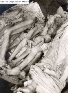 A pile of bodies on a pallet in the Warsaw ghetto