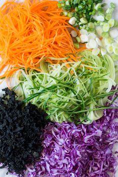 vegan rice noodle salad with sesame dressing ingredients