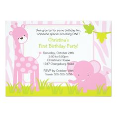 Jungle Safari Giraffe Birthday Party Invitation