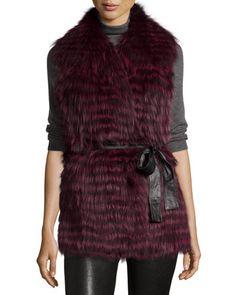 TBH5B Gorski Layered Fox-Fur Belted Vest, Wine