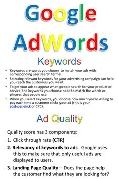 AdWords is an online advertising tool run by Google that allows businesses to display their ads on Google's search engine.  Topics covered in this lesson...  *AdWords *Keywords *Negative Words *Locations *Budget *Ads *CTR (Click Through Rate) *Ad Rank *Ad Quality *Free Organic Listings *AdWord Help Center *Promotions