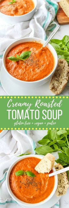 Creamy Roasted Tomato Soup - a fuss free, cool weather comfort. Serve alongside…