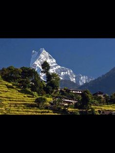 A closer view of (Macchapuchree) also called as Fishtail Mountain, pokhara , Nepal