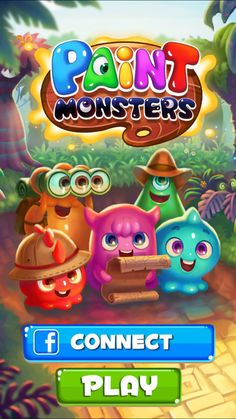 Blend vibrant paint monsters in colorful strokes to defeat the Ink King and restore color to the world! Level Design, Bg Design, Game Logo Design, Game Font, Game Ui, Cute App, Splash Screen, Game Themes, Cartoon Background
