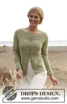 "Knitted DROPS jacket in garter st with round yoke in ""BabyAlpaca Silk"". Size: S - XXXL. ~ DROPS Design"