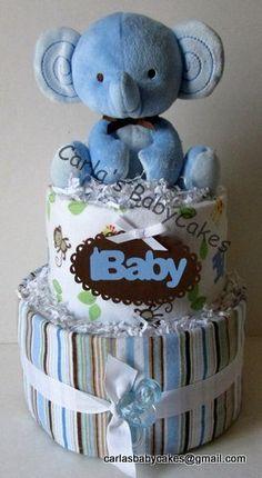 Elephant Diaper Cake Boys Diaper Cake Blue by MsCarlasBabyCakes, $45.00