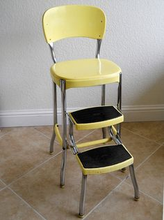 Vintage 1950s Stylaire Chair Fold Out Step Stool Yellow