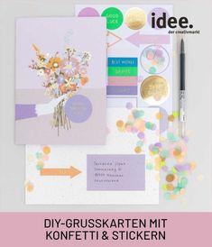 Karten zum Geburtstag, zur Geburt usw. ganz individuell gestalten mit Stickern und Konfetti. Alles, was du dafür benötigst, ist im Set enthalten. #diy #transformation #geschenke # idee #karte #gestalten