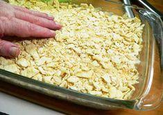 Veg-All Casserole, spread the cracker crumbs over the top. Veg All Casserole, Vegetable Casserole, Easy Casserole Recipes, Great Recipes, Snack Recipes, Favorite Recipes, Yummy Recipes, Cream Of Celery Soup, Cream Of Chicken Soup