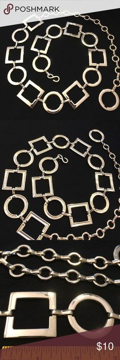 """Silvertone Metal Chain Belt Circle & Square Adjustable in length. 26""""- 36.5"""" inches Nice quality. Lightly used. Has some very light surface scratches. Not very noticeable. Just didn't want you to think it's new. Still has a lot of shine. I'm being very critical. Boutique Accessories Belts"""