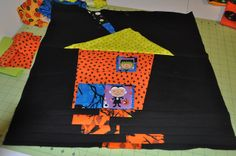 "free ""wonky house"" quilt block tutorial- this one has a halloween theme, but of course you could go with whatever fabrics you like!  *distantPickles.blogspot.com"