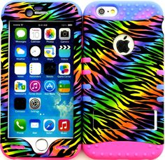 """Amazon.com: Rainbow, Pink and Purple Colored """"Colorful Psychedelic Zebra Stripes with Non-Slip Grip Texture"""" 3 Piece Layered ULTRA Tuff Custom Armored Hybrid Case for the NEW iPhone 6 Plus 5.5"""" Inch Smartphone by Apple {Made of Soft Silicone Gel and Hard Rubberized Plastic with External Built in Kickstand} """"All Ports Accessible"""": Cell Phones & Accessories"""