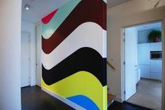 paint designs for walls   Double Wall Painting Ideas Room Paint Colors, Interior Paint Colors, Interior Walls, Wall Colors, Interior Painting, Gray Interior, Modern Interior, Striped Walls, Living Room Paint