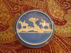 Vintage Green & Co.Ltd Gresley England Blue and White with Horses Trivet