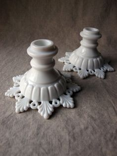candlesticks milk glass vintage Westmoreland