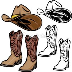 Cowboy Hat and Boots Royalty Free Stock Vector Art Illustration