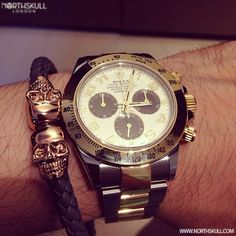 Fan Instagram Pic ! | @Bunni719 Posted A Cool Photo Of His Two Tone Rolex Daytona Watch Paired With Our Steel Grey Nappa Leather/ 18kt. Rose Gold Twin Skull Bracelet.  Nice Combo! | Available now at Northskull.com | For A Chance To Get Featured Post A Cool Photo Of Your Northskull Jewelry With The Tag #Northskullfanpic On Instagram