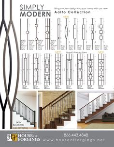 The increasing popularity of modern, contemporary and transitional home decor and interior products is in full swing. Lighting, Hardware and Furniture markets Staircase Railing Design, Modern Stair Railing, Balcony Railing Design, Iron Stair Railing, Stair Handrail, Modern Stairs, Wrought Iron Stairs, Railing Ideas, Transitional Home Decor