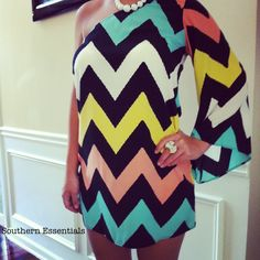 Precious one shoulder chevron dress only $38.00 at Southern Essentials Boutique! We have adorable and affordable boutique style clothing!