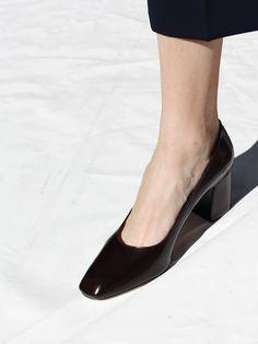 "MARYAM HEEL, CHOCOLATE CALF, 2 5/8"" block heel - by Maryam Nassir Zadeh"