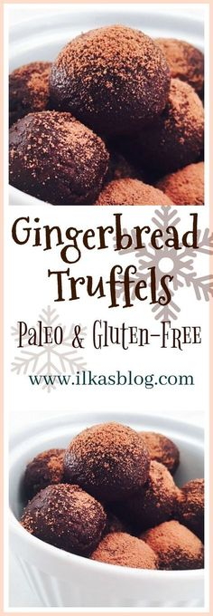 Delicious and healthy Gingerbread Truffels for the holidays, with aromas of vanilla, nutmeg and cinnamon. Made with almond butter, cocoa and maple syrup. Great healthy treat for the holidays! These truffels are Paleo-friendly, gluten-free, dairy-free and made with no refined sugars. A clean eating snack idea!