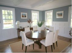 Georgica Builders dining room wainscott and ceiling beams