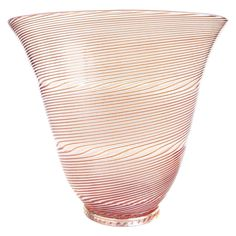 Dino Martens Aureliano Toso Murano Filigrana Optic Swirl Italian Art Glass Vase | From a unique collection of antique and modern vases and vessels at https://www.1stdibs.com/furniture/decorative-objects/vases-vessels/