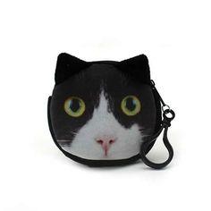 11 Style, Mini 3D Cat Plush Coin Purse Animals Prints Zipper Wallets Children Bag