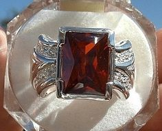 STUNNING STERLING SILVER BLOOD RED RUBY & ICY TOPAZ RING SZ 8 W/BOX! FREE GIFT!  begonia41353  Listia.com