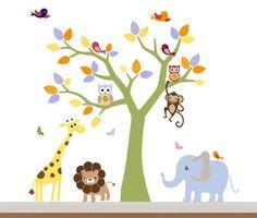 Colorfull Kids Safari Nursery Jungle Wall Decal by NurseryWallArt, $99.99