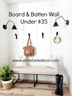 whitelanedecor White Lane Decor mudroom ideas Floor to ceiling board and batten wray wall sconce lily jade shaylee bag modern wall hooks in blac whi… – Mudroom Entryway Diy Home Decor On A Budget, Easy Home Decor, Cheap Home Decor, Modern Wall Hooks, Diy Wall Hooks, Board And Batten, Ceiling Decor, Wall Decor, Decor Room