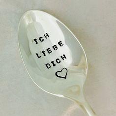 Ich Liebe Dich Hand Stamped Vintage Spoon