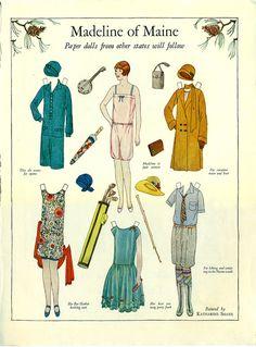Womens Home Companion Magazine Paper Doll Madline of Maine, September 1927