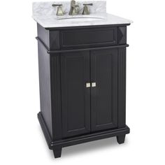 """This 24"""" wide MDF vanity features a sleek black finish, clean lines and tapered feet to give a modern feel. A perfect alternative to a pedestal sinks. A large cabinet provides storage. This vanity has"""