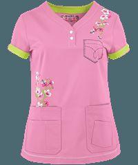 Koi Scrubs Limited Edition Summer Blossoms Y-Neck Print Top Cute Scrubs, Koi Scrubs, Scrubs Outfit, Scrubs Uniform, Scrubs Pattern, Nursing Clothes, Nursing Scrubs, Uniform Design, Scrub Tops