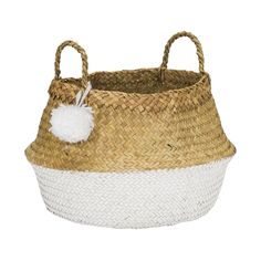 The PomPom basket is an all time favorite to storage your items. The basket is also a nice decoration. The basket is made of sea grass, this material White Sea, Large White, Lorena Canals Teppich, Four Rooms, Straw Bag, Baby Shoes, Basket, Bags, Creative People