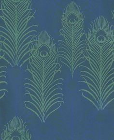 Peacock (W6541-01) - Osborne & Little Wallpapers - Matthew Williamson's signature motif, the peacock feather is given an  exotic touch with this amazing beaded design.  Shown here in beaded metallic jade shade overlaid on a midnight blue motif. Please request a sample for true colour match.